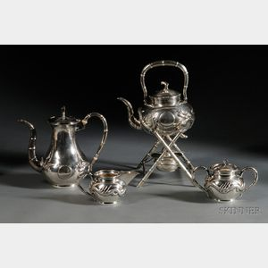 Chinese Export Silver Three Piece Coffee Set and Associated Hot Water Kettle