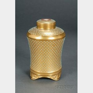 Jeweled Coalport Porcelain Tea Canister and Covers