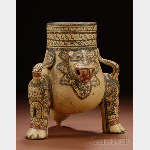 Pre-Columbian Polychrome Pottery Jaguar Urn