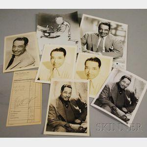 1959 Duke Ellington Signed Hotel Frankfurter Hof Guest Services Receipt and Seven   Duke Ellington Publicity Portrait Photographs