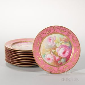 Set of Eleven Lenox China Floral Hand-painted Plates