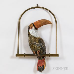 Federico Artisan-crafted Hand-tooled Polychrome Leather Toucan Sculpture