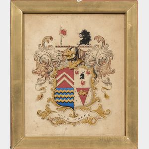 British School, 19th Century      Two Framed Coats of Arms: Sir Alfred Jodrell of Bayfield