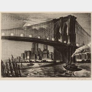 Richard Bergere (American, b. 1912)      Twilight Over Brooklyn Bridge