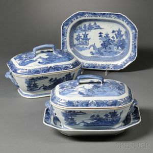 Pair of Blue and White Tureens