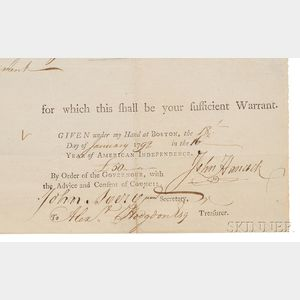 Hancock, John (1737-1792) Document Signed, Boston, 18 January 1792.