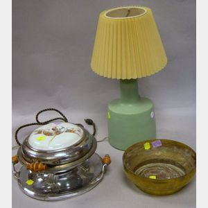 Martz Pottery Table Lamp, a Royal Rochester Porcelain Inset Chrome Plated Electric Waffle Iron, and an Ernst Hagerstrom Brass Low Bowl.