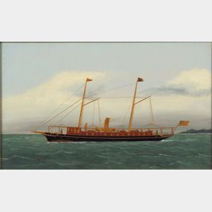 """Attributed to Thomas Willis (American, 1850-1912)      Portrait of the American Steam Yacht """"LINTA."""""""
