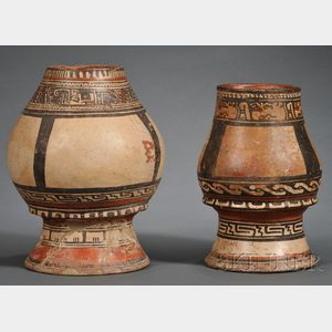 Two Pre-Columbian Polychrome Pottery Pedestal Urns