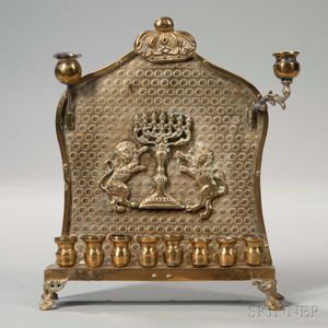 Polish Brass Hanukkah Lamp