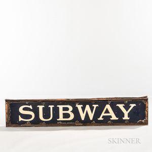 """Blue and White Enamel """"SUBWAY"""" Sign"""