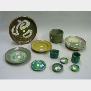 Six Small Gustavsberg Silver Overlaid Glazed Stoneware Table Items and Five Pieces   of Modern Studio Art Pottery