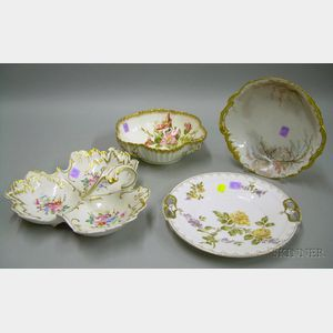 Group of English and European Hand-painted and Transfer Floral Decorated Porcelain   Tableware