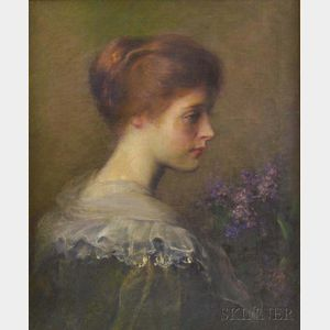 Carle John Blenner (American, 1862-1952)      Lilacs  /Profile of a Woman