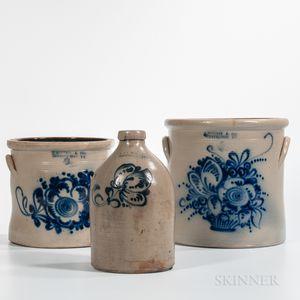 Three Cobalt Floral Decorated Stoneware Items