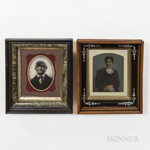 Two Framed Tinted Tintypes of Black Americans