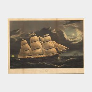 Nathaniel Currier, publisher (American, 1813-1888)  CLIPPER SHIP DREADNAUGHT OFF TUSKAR LIGHT.