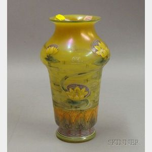Iridescent Yellow Glass and Enamel Handpainted Vase