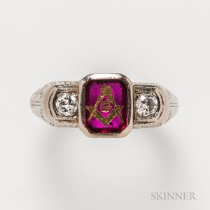 Masonic 18kt White Gold, Ruby, and Diamond Ring