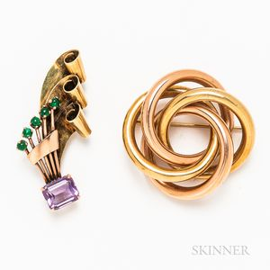 14kt Bicolor Gold Knot Ring and a Retro 14kt Gold and Amethyst Brooch