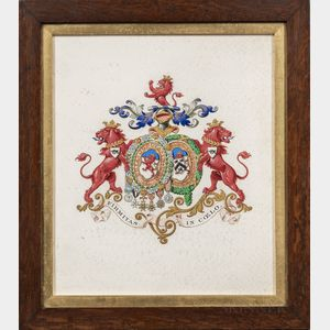 Four Framed Heraldic Watercolors:      Arms of General Sir John St. George, Arms of Garth of Morden in Surrey, and Two Unidentified