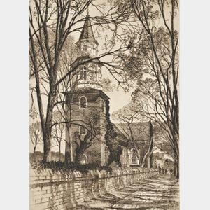 Samuel V. Chamberlain (American, 1895-1975)      Lot of Three Views of Old Williamsburg:  Burton's Parish Church, Williamsburg