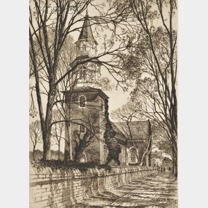 Samuel V. Chamberlain (American, 1895-1975)      Lot of Three Views of Old Williamsburg:  Burton's Parish Church, Williamsburg