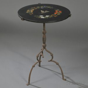 Pietra Dura and Wrought Iron Side Table