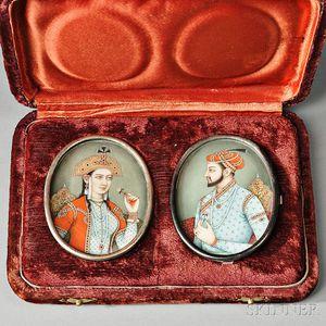 Pair of Miniature Portrait on Bone Plaques