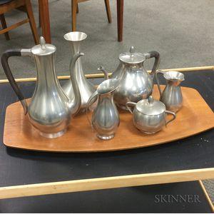 Six-piece Modern Royal Holland Pewter Tea Service with Teak Tray