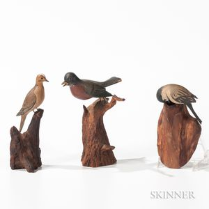 Three Carved and Painted Miniature Bird Figures