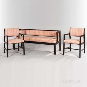 Edward Wormley for Dunbar Wood Frame Settee and Two Open Arm Lounge Chairs