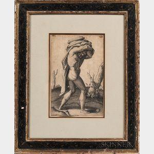 Marcantonio Raimondi (Italian, c. 1480-1527) or His School      Nude Man Carrying the Base of a Column