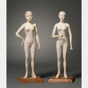 Pair of Miniature Sculpted Plaster Female Mannequins