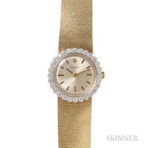Lady's 14kt Gold and Diamond Wristwatch, Rolex