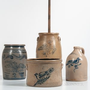 Four Cobalt Decorated Stoneware Items