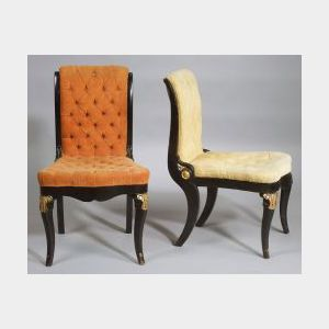 Four Napoleon Ebonized and Parcel-gilt Tufted Velvet Upholstered Slipper Chairs
