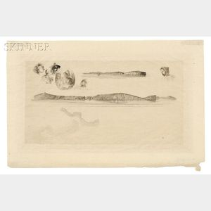 James Abbott McNeill Whistler (American, 1834-1903)      Sketches on the Coast Survey Plate