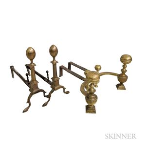 Two Pairs of Brass and Bell Metal Andirons