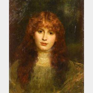 Jean Joseph Benjamin Constant (French, 1845-1902)  Portrait of a Redhead