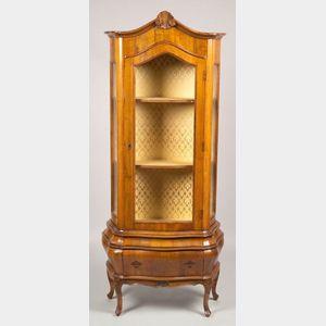 Italian Baroque-style Walnut Display Cabinet