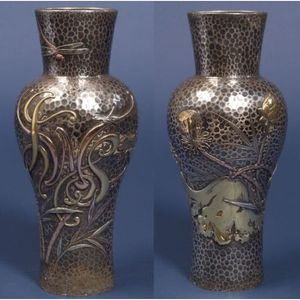Sold for: $67,563 - Tiffany & Co. Sterling and Mixed Metal Hammered Japonesque Vase