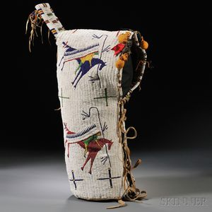 Sold for: $78,000 - Lakota Pictorial Beaded Buffalo Hide Cradle