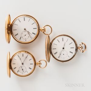 Three Gold and Enameled Decorated Hunter-case Watches
