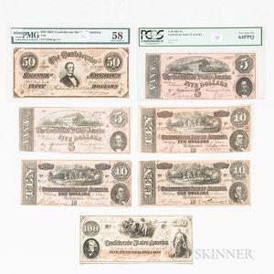 Seven Confederate Notes