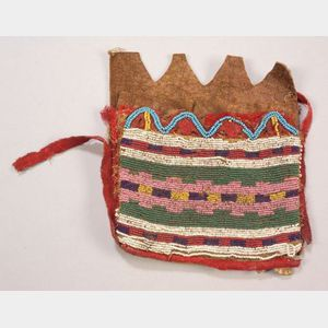 Northern Plains Beaded Hide and Cloth Bag