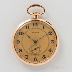 "Waltham 18kt Gold Open-face ""Opera"" Watch"