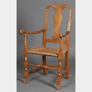 Queen Anne Tiger Maple Armchair