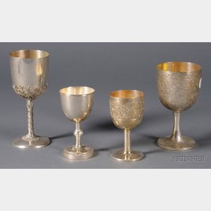 Four Chinese Export Silver Goblets