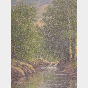 Framed Oil Landscape of a Woodland Stream